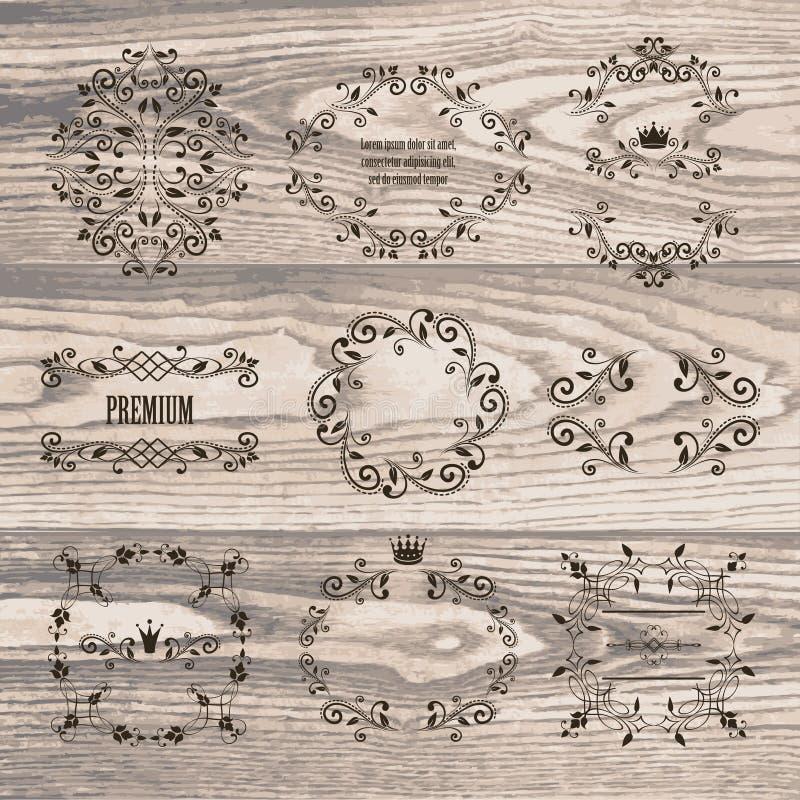 Sistema de bastidores ornamentales con las coronas en textura de madera natural libre illustration