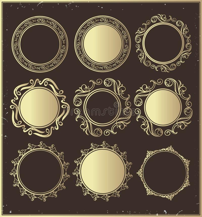 Sistema de bastidores redondos de oro del vintage libre illustration