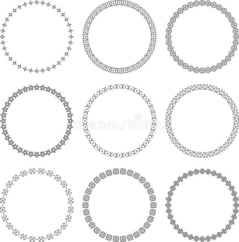 Sistema de 9 bastidores redondos ornamentales con los elementos florales ilustración del vector