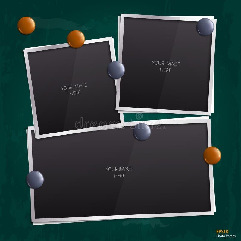 Sistema de bastidores vacíos de la foto en la pizarra libre illustration