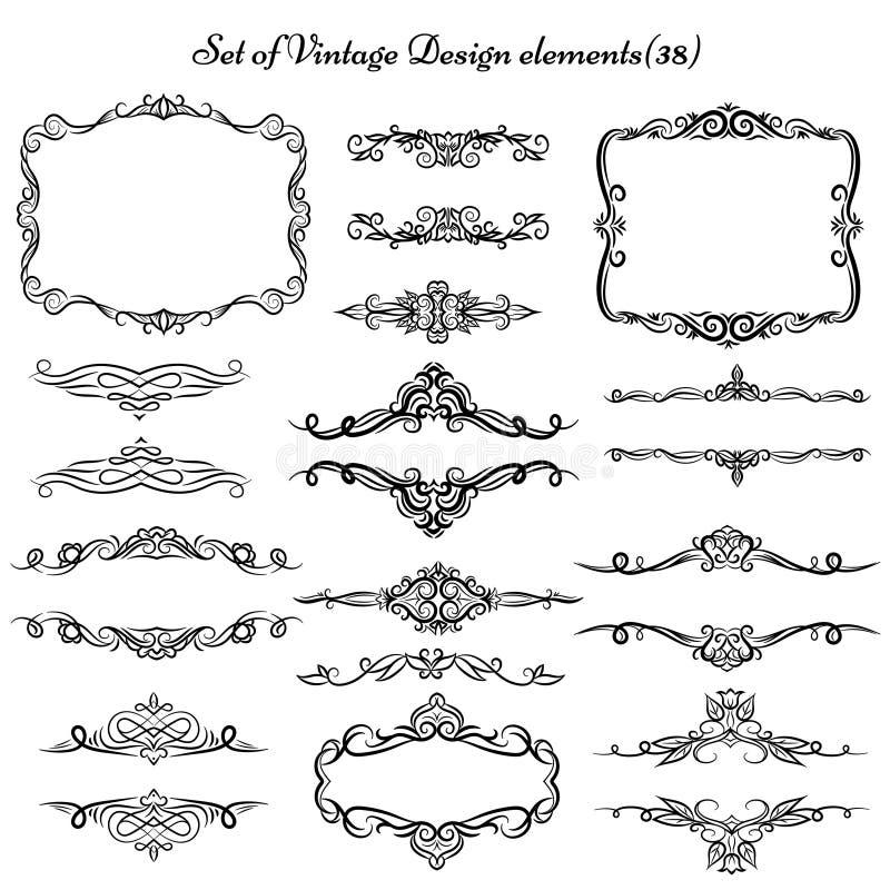 Sistema de bastidores y de fronteras del vintage ilustración del vector
