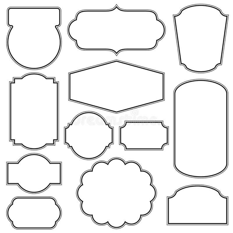 Sistema de bastidores y de fronteras en estilo retro ilustración del vector