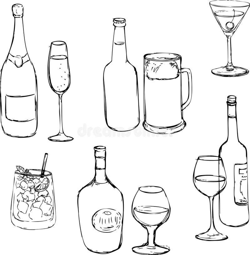 Sistema de bebidas del alcohol libre illustration