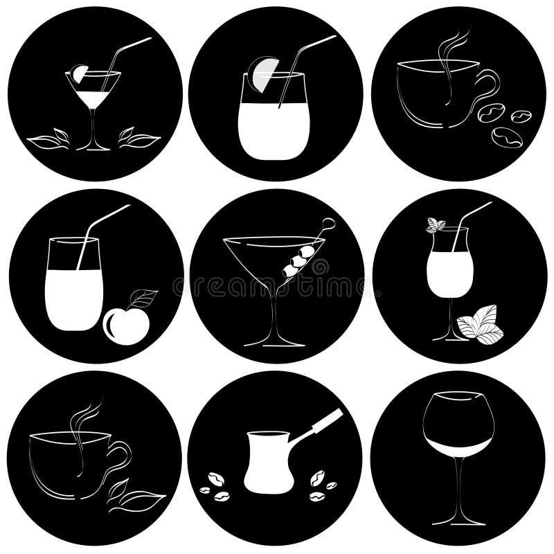 Sistema de bebidas en vidrios ilustración del vector