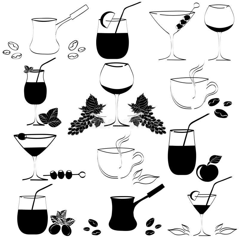 Sistema de bebidas en vidrios stock de ilustración