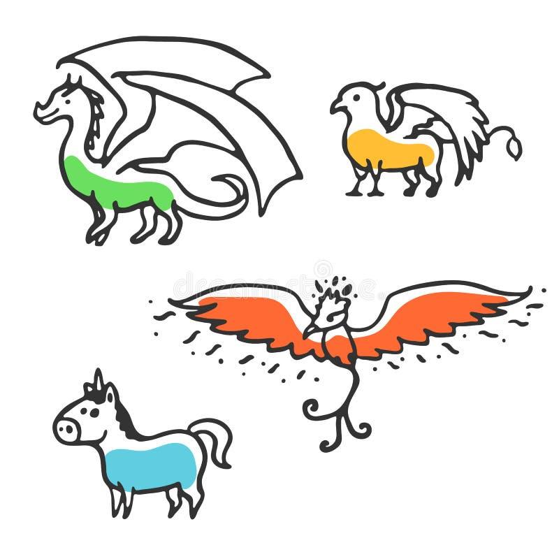 Sistema de bestias míticas de la pequeña historieta linda ilustración del vector