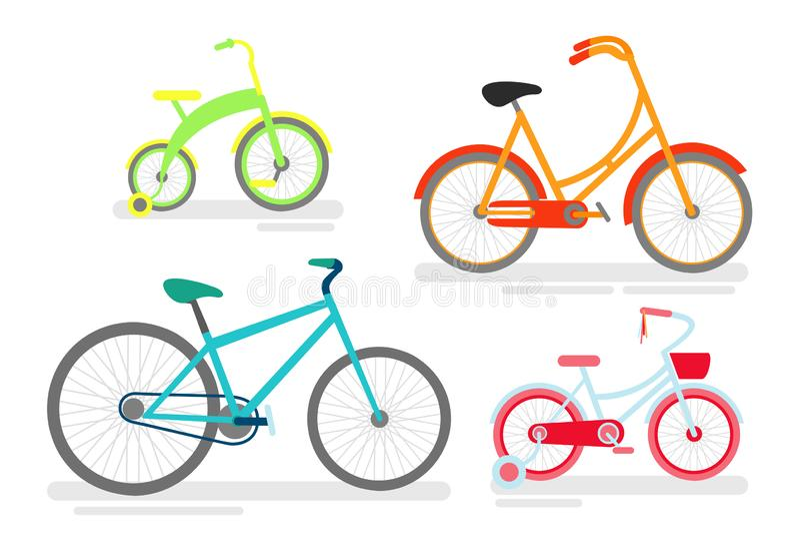 Sistema de bicicletas, ciclista de ciclo de la bici, tipo del transporte, bicicletas del ejemplo del vector en verde claro, rosad ilustración del vector