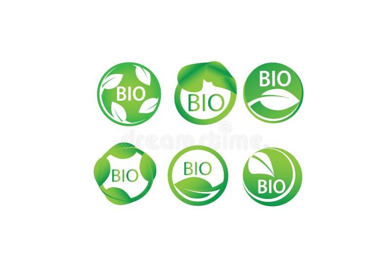 Sistema de bio, orgánico, Eco, hoja verde, natural, biología, corazón, etiquetas del vector del símbolo de la salud ilustración del vector