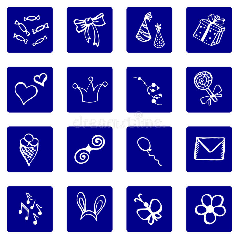 Sistema de blanco en iconos azules del fondo, tema del garabato de la enhorabuena stock de ilustración