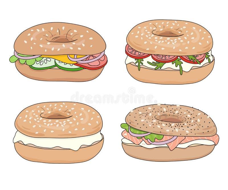 Sistema de 4 bocadillos frescos del panecillo con diversos rellenos Queso cremoso, lox, verduras Ilustración del vector stock de ilustración
