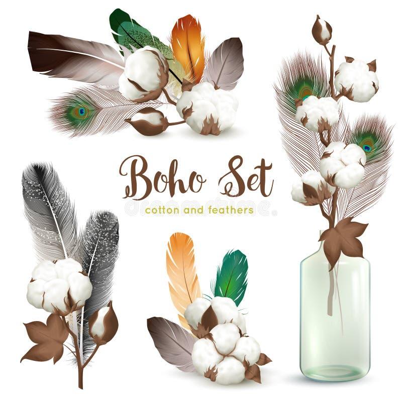 Sistema de Boho de las plumas de las cápsulas del algodón libre illustration