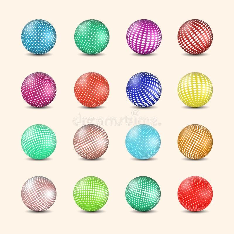 Sistema de bolas coloreadas brillantes con el terraplén de semitono, ejemplo del vector stock de ilustración