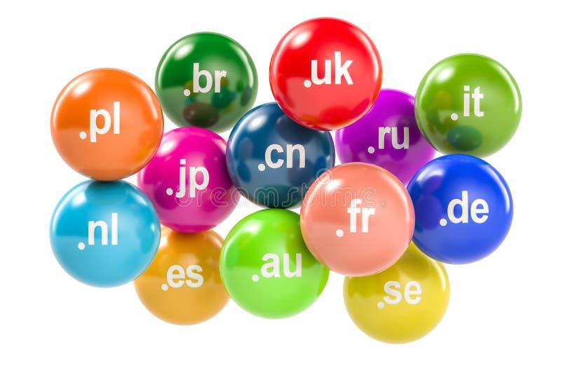Sistema de bolas coloreadas con los Domain Name a nivel superior del código de país, 3 libre illustration
