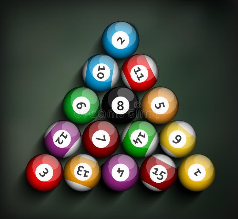 Sistema de bolas de billar ilustración del vector