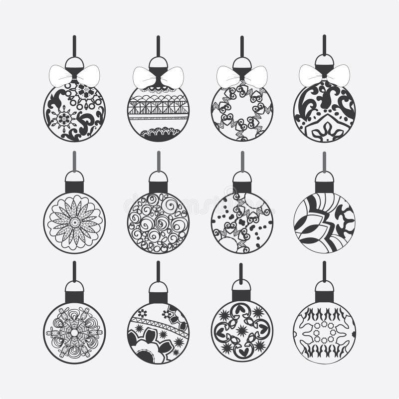 Sistema de bolas de la Navidad aisladas en el fondo blanco stock de ilustración