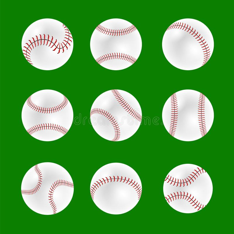 Sistema de bolas del béisbol stock de ilustración