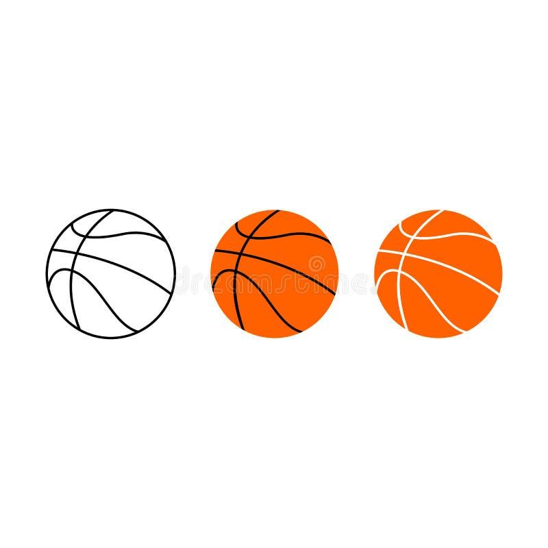 Sistema de bolas del baloncesto Ilustración del vector Iconos del baloncesto ilustración del vector