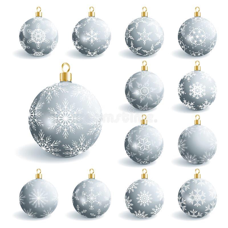 Sistema de bolas grises hermosas de la Navidad libre illustration