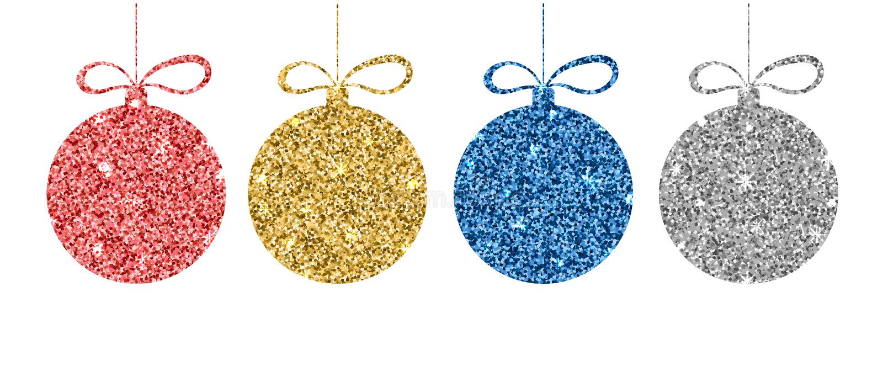 Sistema de bolas rojas, de oro, azules, de plata de la Navidad Esfera del brillo con efecto metálico Plantilla decorativa de la c ilustración del vector