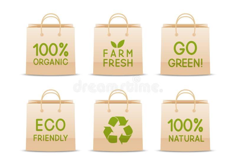 Sistema de bolsas de papel de la ecología ilustración del vector