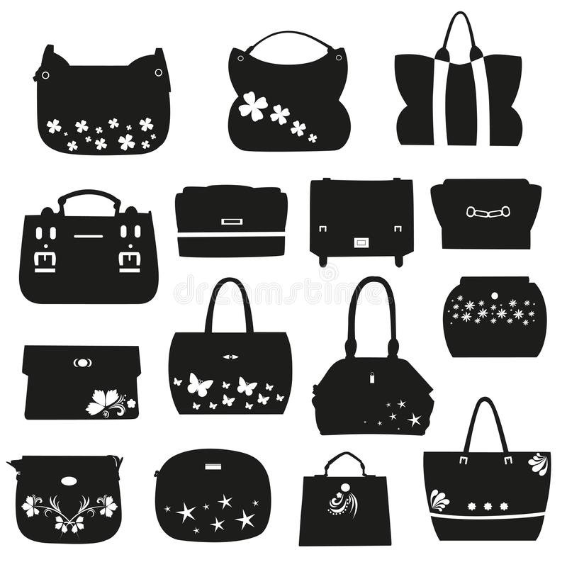 Sistema de bolsos femeninos con las flores ilustración del vector
