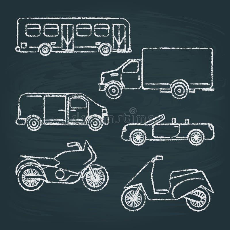 Sistema de bosquejos del transporte en la pizarra libre illustration