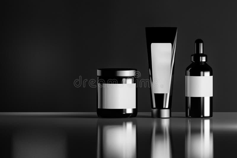 Sistema de botellas cosméticas negras con las etiquetas en blanco blancas en el fondo brillante reflexivo libre illustration