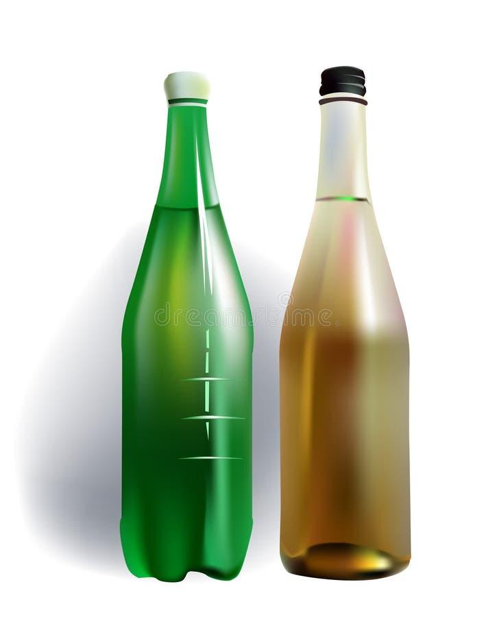 Sistema de botellas de agua del mineral y de las frutas ilustración del vector