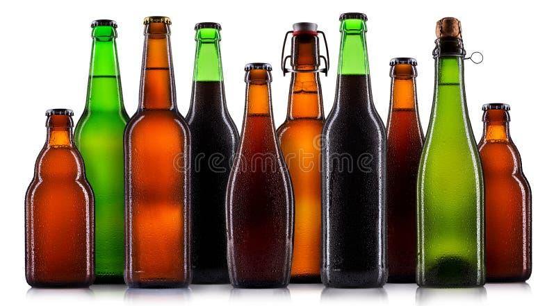 Sistema de botellas de cerveza aisladas fotografía de archivo libre de regalías