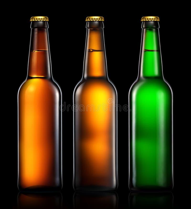 Sistema de botellas de cerveza en negro imagen de archivo libre de regalías