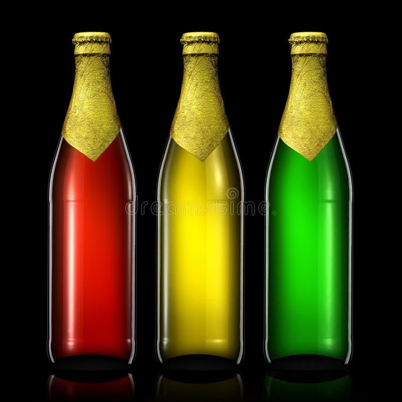 Sistema de botellas de cerveza en negro foto de archivo