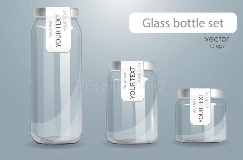 Sistema de botellas de cristal transparentes libre illustration