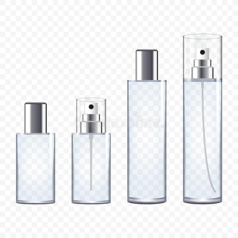 Sistema de botellas de perfume transparentes stock de ilustración