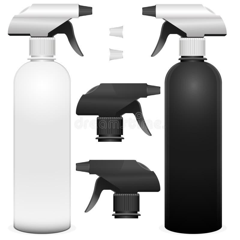 Sistema de botellas del espray con los detalies Ejemplo realista del vector del espray de la pistola con el mocup de la bomba en  stock de ilustración