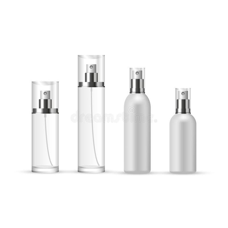 Sistema de botellas del espray de perfume en vidrio y plástico stock de ilustración