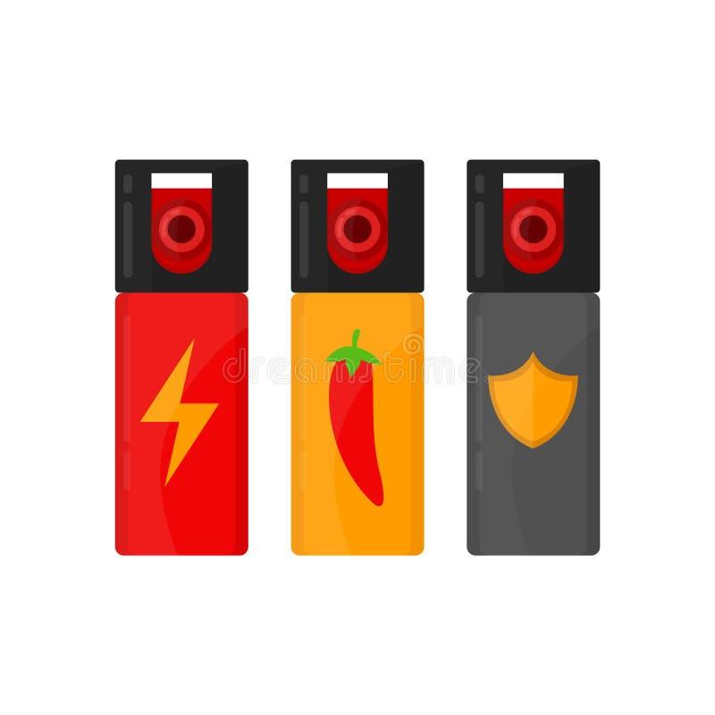 Sistema de botellas del espray de la autodefensa Vector ilustración del vector