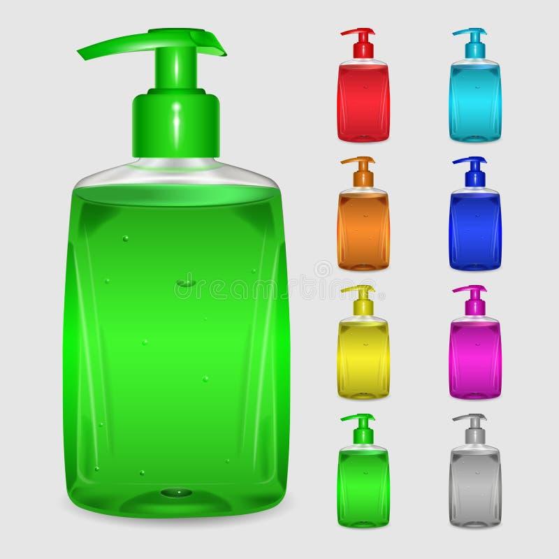 Sistema de botellas multicoloras de jabón líquido libre illustration