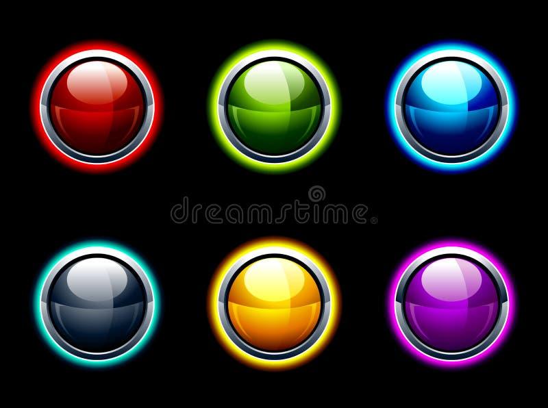Sistema de botones brillantes ilustración del vector