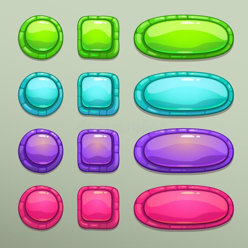 Sistema de botones coloridos de la historieta stock de ilustración