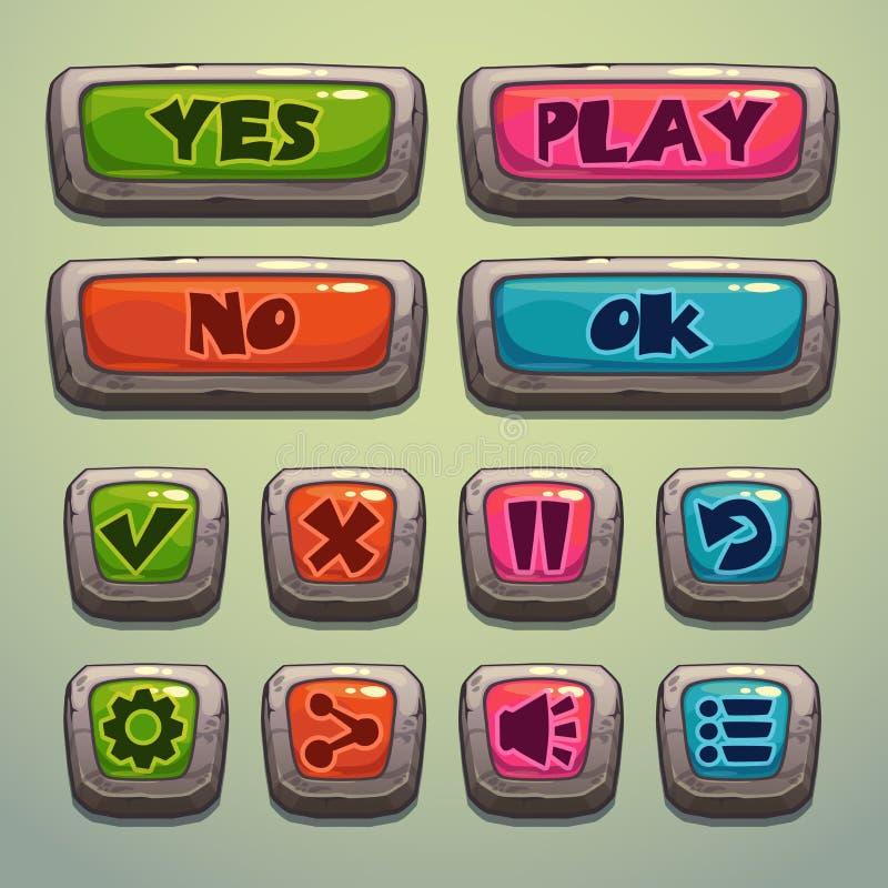 Sistema de botones de la piedra de la historieta stock de ilustración