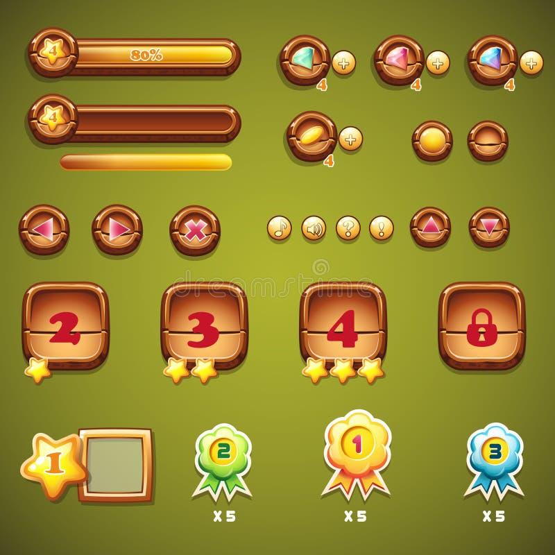 Sistema de botones de madera, de barras de progreso, y de otros elementos para el diseño web ilustración del vector