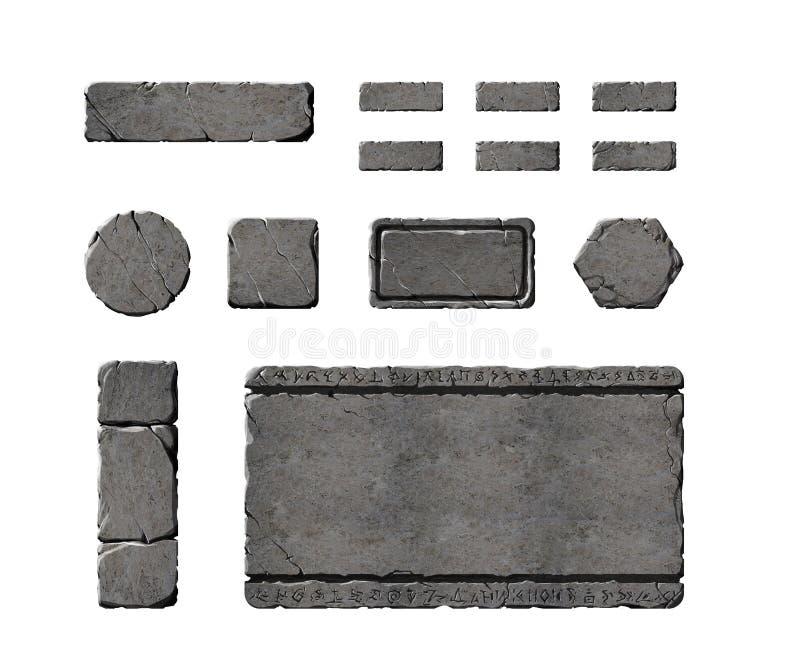 Sistema de botones de piedra realistas del interfaz ilustración del vector
