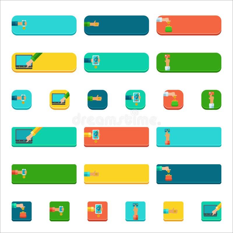 Sistema de botones planos con la gente que paga conceptos stock de ilustración