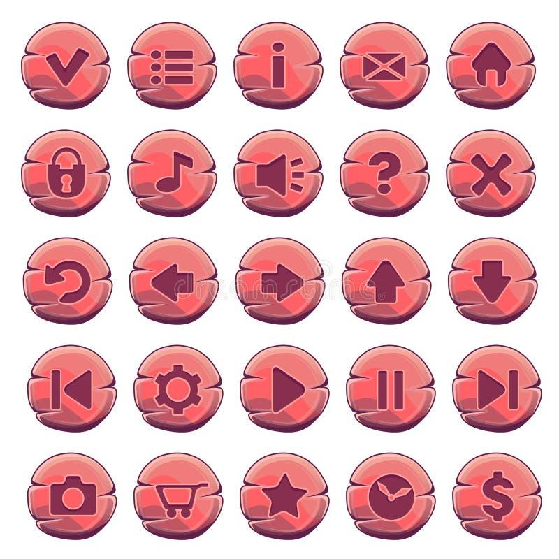Sistema de botones redondos de madera rojos ilustración del vector
