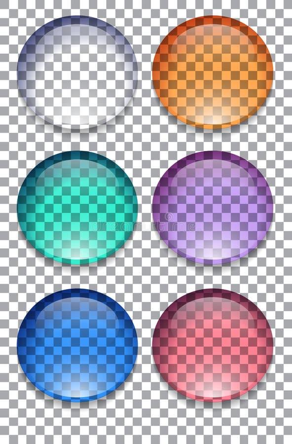 Sistema de botones transparentes coloridos ilustración del vector