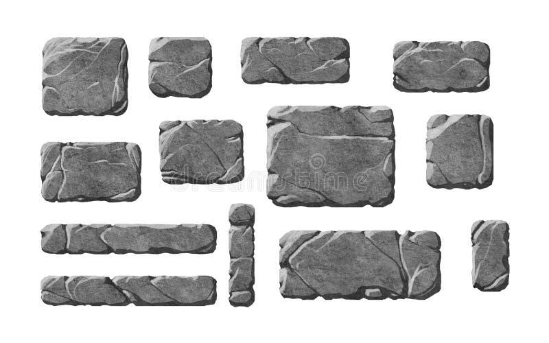 Sistema de botones y de elementos de piedra realistas ilustración del vector
