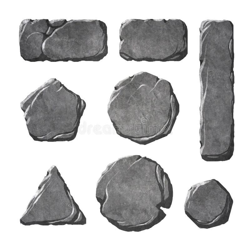 Sistema de botones y de elementos de piedra realistas stock de ilustración