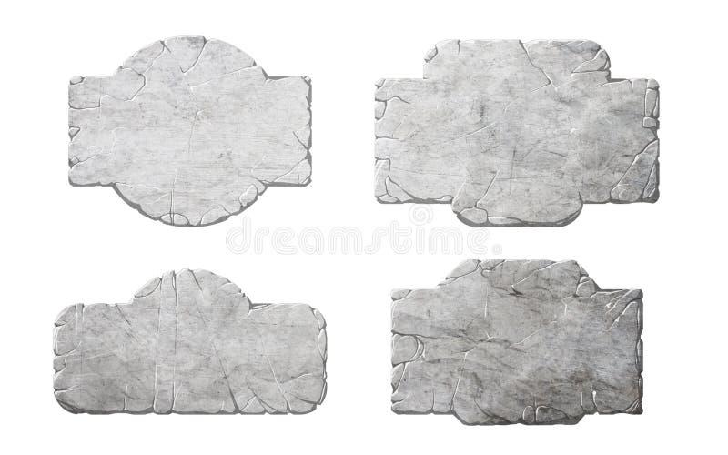 Sistema de botones y de elementos de piedra realistas del interfaz stock de ilustración