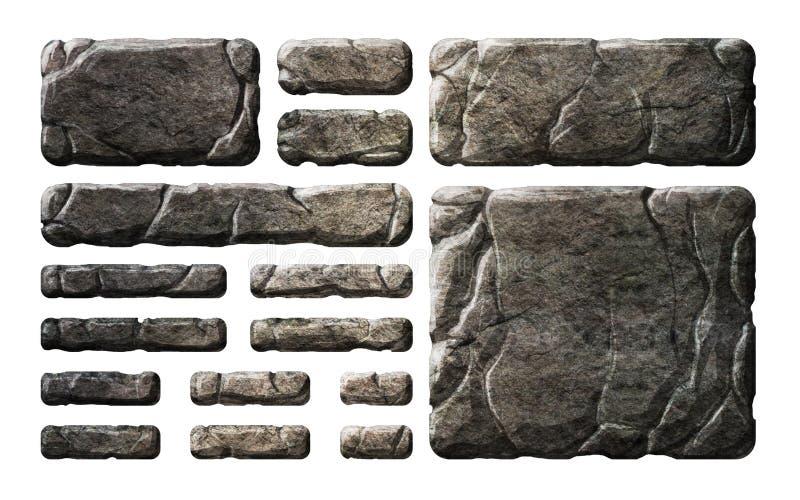 Sistema de botones y de elementos de piedra realistas del interfaz libre illustration