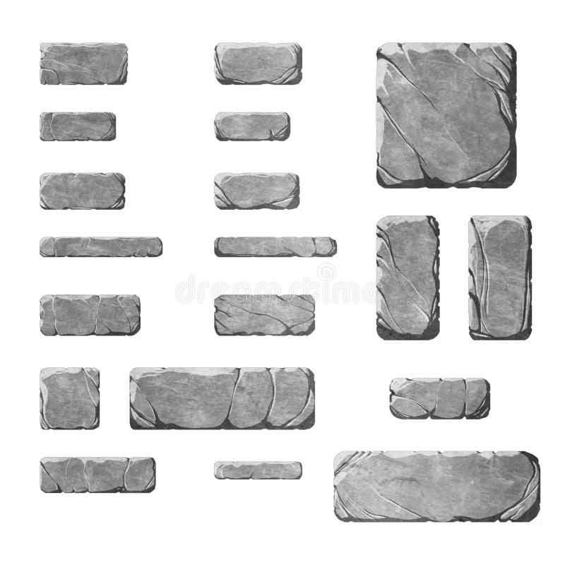 Sistema de botones y de elementos de piedra realistas del interfaz ilustración del vector